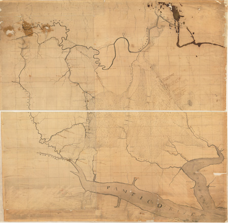 Country between the Roanoke and Pungo Rivers, surveyed by Jonathan Price and Woodson Clements.  From the collections of the State Archives of North Carolina.  Presented by North Carolina Maps at the University of North Carolina at Chapel Hill.