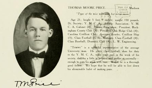 Photograph and yearbook entry for Thomas Moore Price, UNC Chapel Hill <i>Yackety Yack,</i> 1912.  From DigitalNC.org.