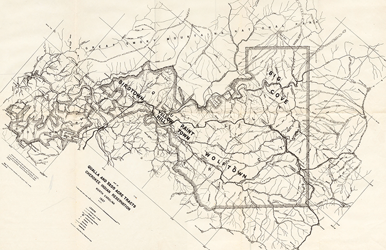 A 1941 map of the Qualla Boundary, mostly in Swain and Jackson counties. Image from North Carolina Maps.