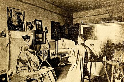 "William George Randall in his Corcoran Building studio painting his work ""The Spinner."" Image from Archive.org."