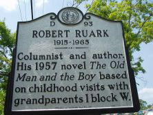 Robert Chest Ruark, Jr.'s marker is located on NC 211 (Howe Street) at Nash Street in Southport in Brunswick, County. Presented on North Carolian Highway Historical Marker Program.