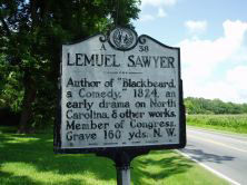 Lemuel Sawyer's marker on US 158/NC 34 southwest of Camden in Camden County. Photo is presented on North Carolina Historical Highway Marker Program.