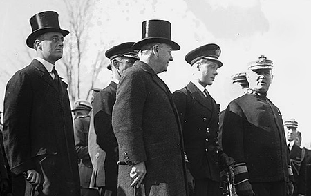 Archibald H. Scales (right) with the future King Edward VIII of the United Kingdom and future president Franklin D. Roosevelt far left, at Annapolis, November 14, 1919. Image from the Library of Congress.