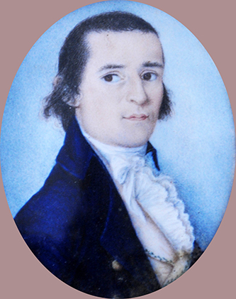 A miniature portrait of William Shepard (1765-1810), father of James Biddle Shepard and Charles Biddle Shepard. Image courtesy of Tryon Palace.
