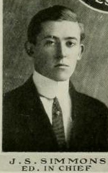 Image of James Stevens Simmons, from  Quips and Cranks yearbook at Davidson College, [p. 8], published 1911 by Davidson College. Presented on Digital NC.