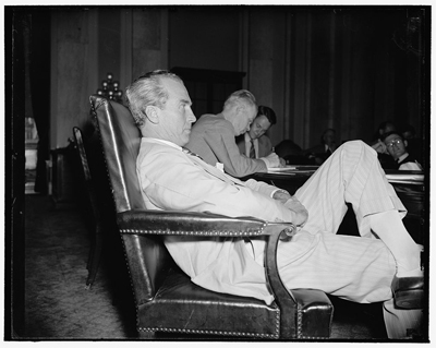 Photograph of Senator William Smathers, Democrat of New Jersey, June 15, 1939, by Harris & Ewing.  From the Harris & Ewing Collection, Library of Congress Prints and Photographs Online Catalog.