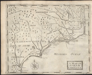 A Map of North Carolina, depiction circa 1700-1710, by John Brickell, published 1743 by John Brickell and C. Corbett, London.  From the North Carolina Collection, UNC-Chapel Hill, presented online by North Carolina Maps.