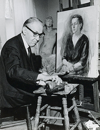 A 1972 photograph of Francis Wayland Speight painting a portrait of his wife Sarah. Image from the East Carolina University Digital Collections.