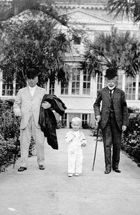 "James Sprunt (right) with his grandson James Laurence ""Jimmie"" Sprunt, Jr. and N.C. governor Thomas Bickett in Wilmington, 1920. Image from the North Carolina Museum of History."