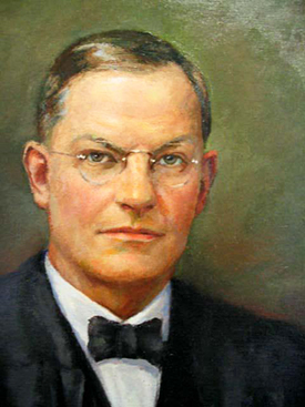 Detail of a 1953 portrait of Judge Walter Price Stacy. Image from the North Carolina Museum of History.