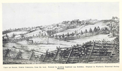 View of Salem North Carolina, by Ludwig Gottfried von Redeken. From Adelaide L. Fries <i>Records of the Moravians of North Carolina</i>, Volume VI 1793-1808, published 1943 by the North Carolina Historical Commission, Raleigh, North Carolina.  Presented on Archive.org.