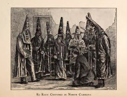 Engraving of Ku Klux Klan costumes in North Carolina, circa 1870, after a photograph, in Walter L. Fleming's <i>Documentary History of Reconstruction, Vol. II</i> published 1907. Presented on Archive.org.