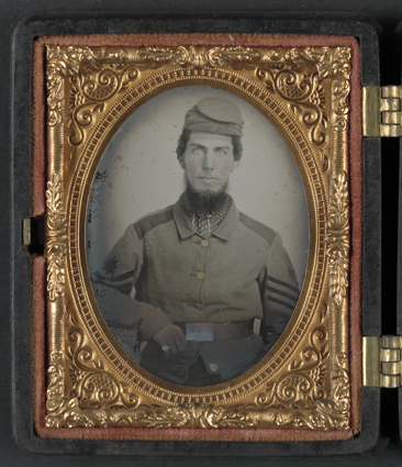 Chaplain Robert Bean Sutton of the Army of Northern Virginia, in uniform.  Image taken circa 1861-1865.  Included as one of two photographs in a hinged case approximately 7.6 x 6.5 cm.  The other photograph was taken following the war and is shown above.  From the Ambrotype/Tintype Liljenquist Family Collection, Library of Congress Prints & Photographs Online Catalog.