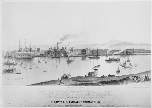 Lithograph of Mare Island Naval Shipyard, 1855.  Daniel Turner was superintendant of public works at Mare Island from  1854 to 1860.  From the Historic American Landscapes Survey, Library of Congress Prints & Photographs Online Catalog.