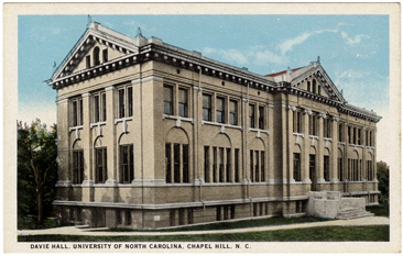 Postcard image of Davie Hall at the University of North Carolina, Chapel Hill, circa 1908.  From the Durwood Barbour Collection of North Carolina Postcards, North Carolina Collection Photographic Archives, Wilson Library, University of North Carolina. Norman Underwood built Davie Hall.