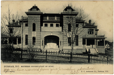 Postard image of the Southern Conservatory of Music, Durham, NC.  From the Durwood Barbour Collection of North Carolina Postcards, North Carolina Photographic Archives, Wilson Library, University of North Carolina. Norman Underwood's firm built the Southern Conservatory of Music building.