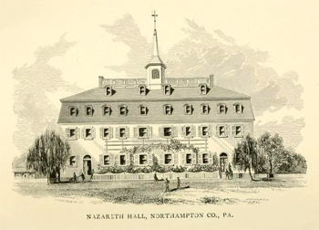 Depiction of Nazareth Hall, Northhampton Co., PA, from William C. Reichel's <i>Historical Sketch of Nazareth Hall From 1755 to 1869,</i> published 1869 by J. B. Lippincott & Co., Philadelphia. Jacob Van Vleck was a student and principal at Nazareth Hall, and his son Charles Anthony Van Vleck, later bishop at Salem, NC, was educated at Nazareth Hall.