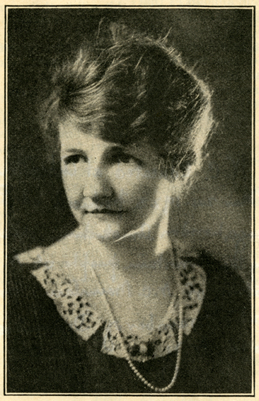 "Photographic portrait of Lula Vollmer, circa 1922-23, from ""Such is Life in Carolina: 'SUN UP' A play of Carolina Perfecto Flavor By Lula Vollmer,"" in <i>Current Opinion,</i> December 1923.  From the collections of the Government & Heritage Library, State Library of North Carolina."