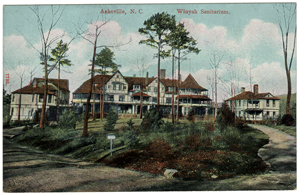 Postcard of the Winyah Sanitarium, Asheville, NC, circa 1919. From the Durwood Barbour Collection of North Carolina Postcards, Wilson Library, University of North Carolina at Chapel Hill.