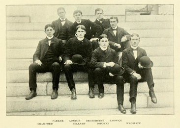 Photograph of <i>Tar Heel</i> editors, from the 1899 Univeristy of North Carolina yearbook <i>The Hellenian</i>, p. 123, published 1899.  Henry Wagstaff is shown seated in the first row on the far right.
