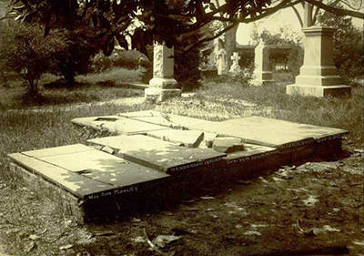 From left to right, the graves of Ann Mosley, Henderson Walker,  Col. William Wilkinson, unknown, and governor Charles Eden in St. Paul's churchyard in Edenton. Image from the North Carolina Museum of History.
