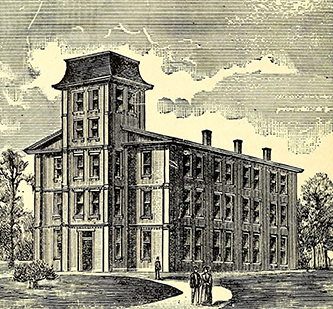 An engraving of Yadkin College, founded by Henry Walser. Image from the Internet Archive.