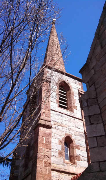 Photograph of the belltower on historic Christ Church, Edenton Street, Raleigh, NC. Photograph by Kelly Agan, 2014.
