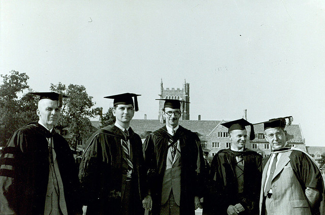 """Faculty at Graduation, 1941."" Alban Widgery is pictured on the far right. From Duke University Archives, on Duke Yearlock's Photostream, <i>Flickr</i>.  Used under Creative Commons CC By-NC-SA 2.0 license."