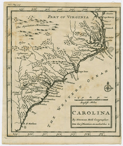 """Carolina,"" by Herman Moll Geographer, circa 1708.  Map of Carolina showing portions of Virginia, Item CM912, North Carolina Collection, University of North Carolina.  Presented on North Carolina MAPS online."