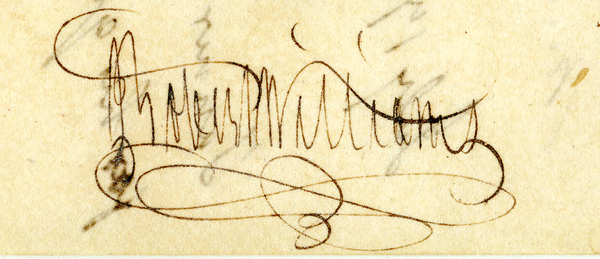 Signature of Governor Robert Williams of the Mississippi Territory, May 27, 1807, on an order of the Governor of the Mississippi Territory appointing Robert Tanner as Coroner of Wilkinson County.  From Administration Papers, 1769, 1788-1817, Mississippi Office of Archives and History.
