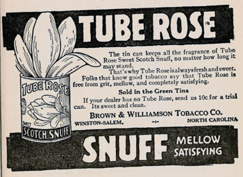 "Image of an advertisment of Brown & Williamson Tube Rose Snuff  in the ""North Carolina State Fair Premium List 1920.""   From the State Library of North Carolina Government & Heritage Library."
