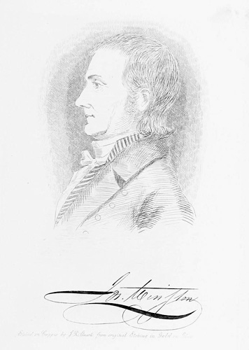 Portrait and signature of Joseph Winston, from Lyman Draper's <i>King's Mountain and Its Heroes,</i> published 1881, Peter G. Thompson Publishers, Cincinnati.  Presented on Archive.org.