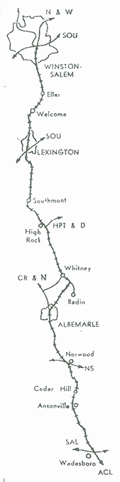A map of the Winston-Salem Southbound Railway from the company's promotional notepads. Image courtesy of John Sullivan.