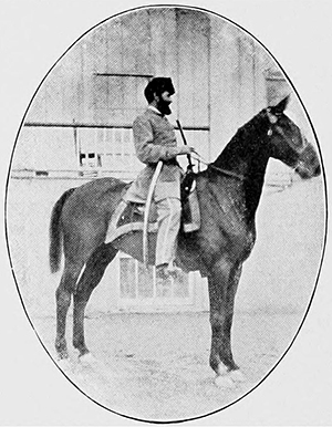"Major John W. Woodfin astride his horse, ""Prince Hal,"" from Clark's Regimental Histories. Image from Archive.org."