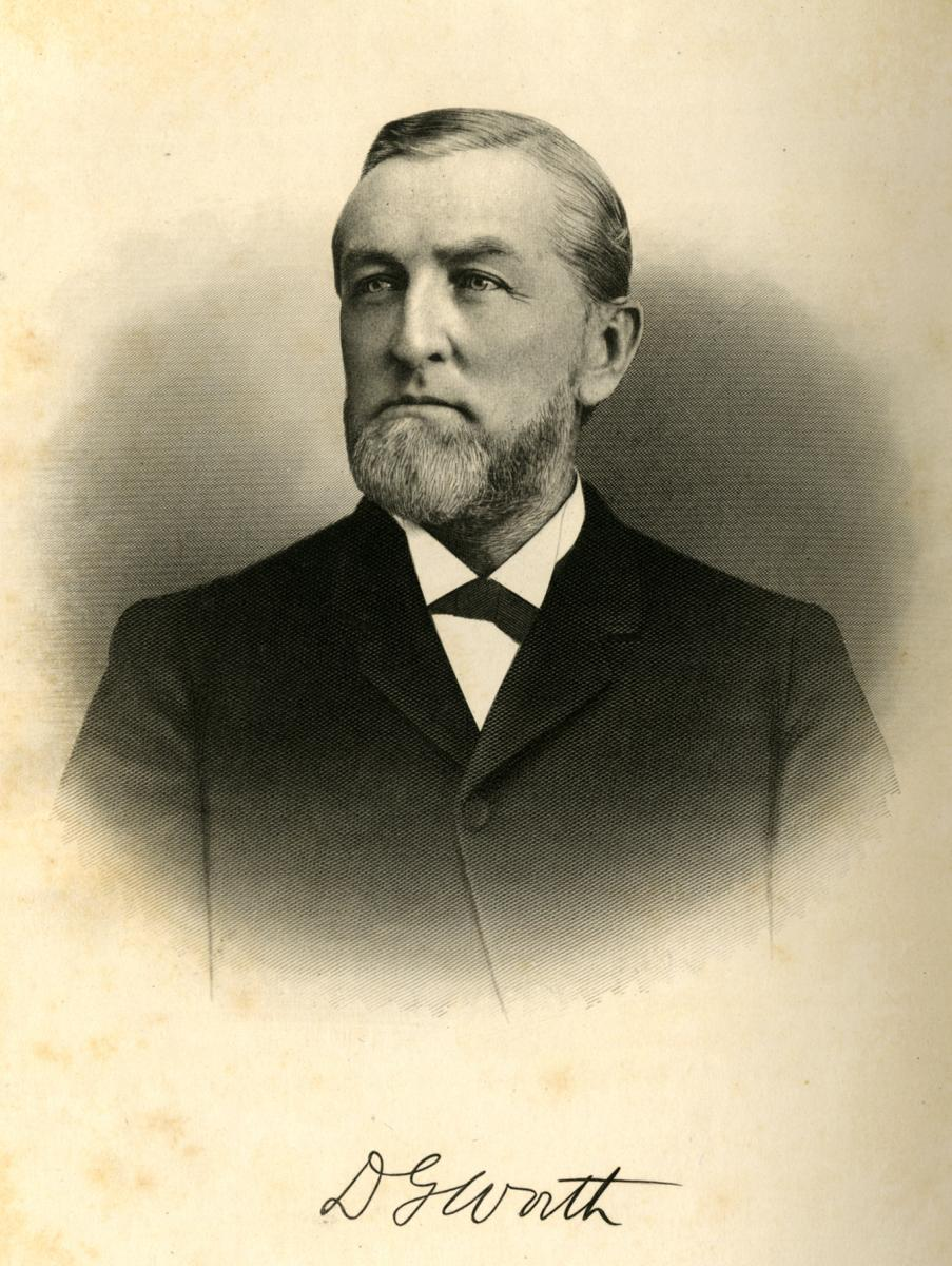 Portrait of David Gaston Worth, from Samuel A. Ashe's <i>Biographical History of North Carolina</i>, Vol. 3, published 1905, p. 473.  From the collection of the Government & Heritage Library, State Library of North Carolina.