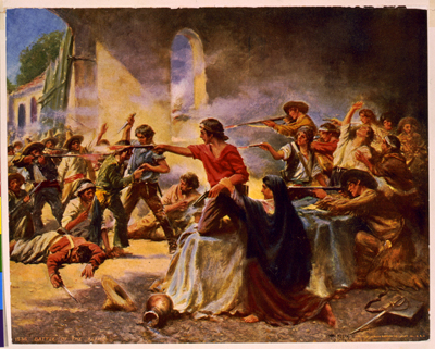 """Battle of the Alamo,"" artistic depiction by Percy Moran, 1912.  Claiborne Wright fought in the defense of the Alamo and died when the Alamo fell to General Antonio Lopez.  From the Library of Congress Prints and Photographs Online Collection."
