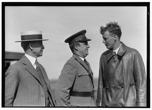 Photograph of Orville Wright (left), with Major John F. Curry (center) and Colonel Charles Lindbergh (left), at Wright Field, Dayton, Ohio, June 22, 1927.  Item # LC-W86- 174 , Wright Brothers Negatives, Library of Congress Prints & Photographs Online Catalog.