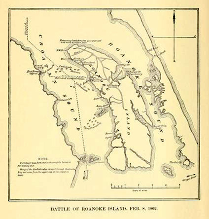 Map of the Battle of Roanoke Island, February 8, 1862, from Walter Clark's <i>Histories of the Several Regiments and Battalions from North Carolina</i>, Vol. 5, published 1901.  Edward Clement Yellowley was captured by the Union Army at the Battle of Roanoke Island.  Presented on Archive.org.