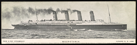 Postcard image of the <i>Mauretania</i> circa 1908.  Yelverton sailed on the steamship from England in 1919.  Image from the Library of Congress Prints & Photographs Online Catalog.