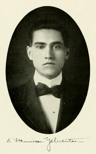 Senior portrait of E. Harrison Yelverton from the 1912 University of North Carolina yearbook <i>The Yackety Yack</i>.  Presented by DigitalNC.