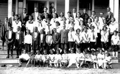 Photograph of students at the Wake Forest Normal and Industrial School in Wake Forest, NC, circa the 1920s-1930s.  Photograph from the collections of the State Archives of North Carolina.  Presented on the Wake Forest Historical Museum online.