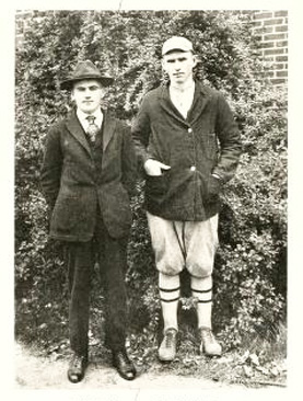Photograph of Jonathan Zachary (on right), from the Guilford College yearbook <i>The Quaker</i>, 1918.  Image courtesy of DigitalNC.org.