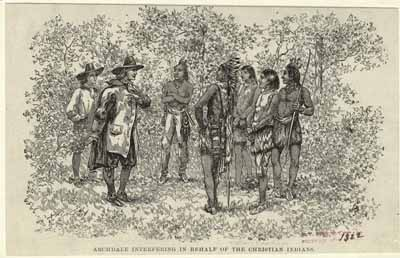 Archdale interfering in behalf of the Christian Indians. Image courtesy of the New York Public Library.
