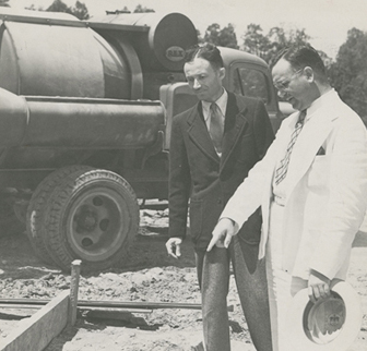 Dr. Camillo Artom and dean of the medical school, Dr. Coy C. Carpenter, at construction of Bowman Gray Medical School. Courtesy of Digital Forsyth.