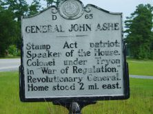NC Highway Historical Marker For General John Ashe. Courtesy of the NC Office of Archives & History.