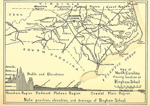 Map showing location of the Bingham school in NC. Courtesy of the Bingham School Catalogue.