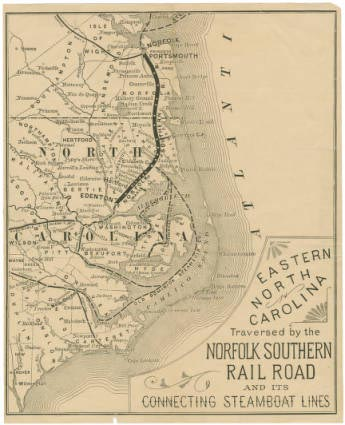 "Image of ""Eastern North Carolina: Traversed by the Norfolk Southern Railroad and its connecting steamboat lines,"" published in 1884 by J. C. Rankin. Presented in University of North Carolina at Chapel Hill's North Carolina Maps Digital Collection."