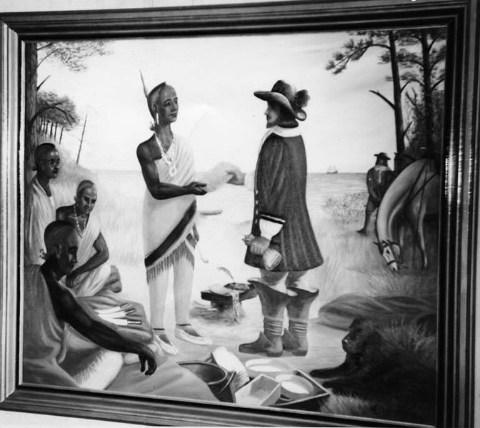 "Photo of a painting of George Durant receiving a deed from the chief of the Yeopim Indians, entitled ""Durant's Deed"" in Perquimans County Central Grammer School, Winfall, NC. Painted by W. Frith Winslow."