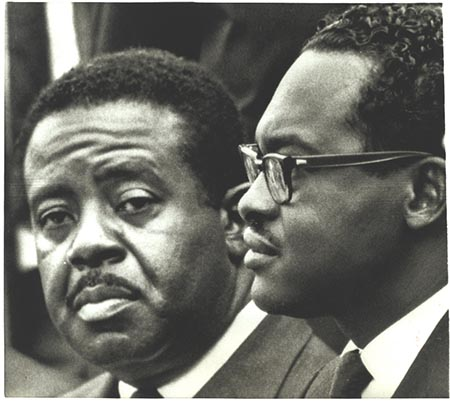 Dr. Ralph David Abernethy (left) and Dr. Reginald A. Hawkins at a campaign event in Raleigh, N.C., 27 April 1968. Photograph from Allard Lowenstein Papers, Southern Historical Collection, #4340, The Wilson Library, University of North Carolina at Chapel Hill. Image used with permission.