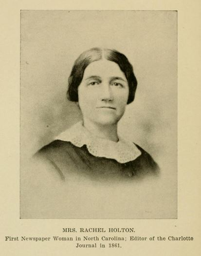 Portrait of Rachel Holton. From Daniel Augustus Tompkins' History of Mecklenburg County, published 1903, Charlotte, N.C.
